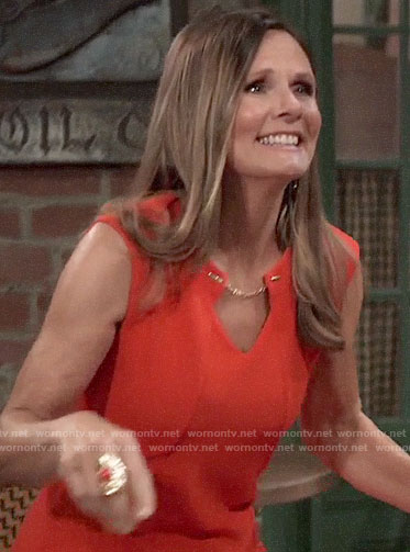Lucy's orange dress with chain keyhole on General Hospital
