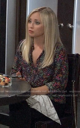 Lulus' floral button down shirt on General Hospital