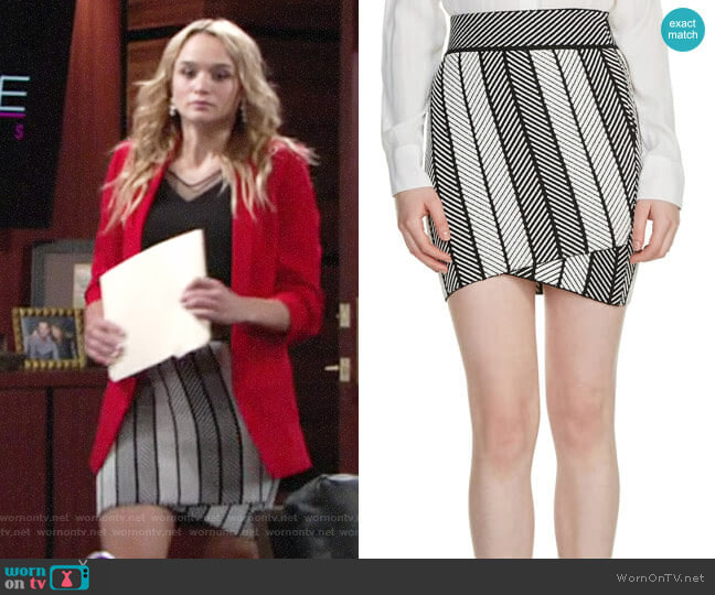 Maje Jessy Herringbone Skirt worn by Hunter King on The Young & the Restless