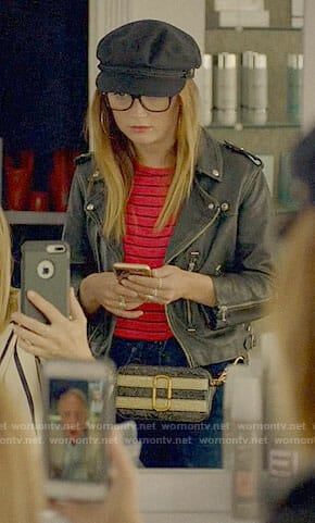 Mallory's red striped tee and leather jacket on American Horror Story