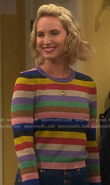 Mandy's rainbow striped sweater on Last Man Standing
