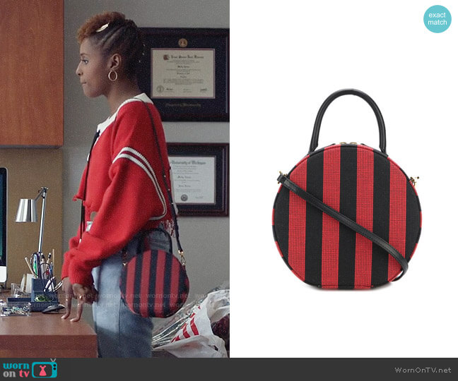 Mansur Gavriel Stripe Circle Crossbody worn by Issa Dee (Issa Rae) on Insecure