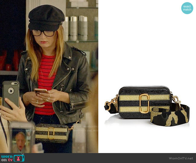Marc Jacobs Snapshot Glitter Stripe Leather Camera Bag worn by Mallory (Billie Lourd) on American Horror Story