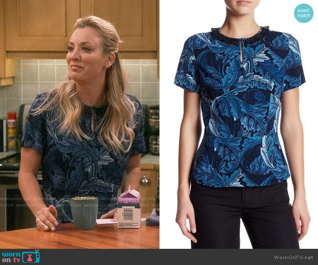 Marc by Marc Jacobs Printed Peplum Blouse worn by Penny Hofstadter (Kaley Cuoco) on The Big Bang Theory