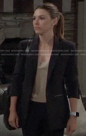 Margaux's black blazer with zip pockets on General Hospital