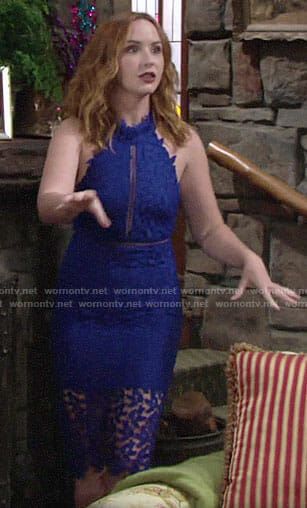 Mariah's blue lace dress on The Young and the Restless