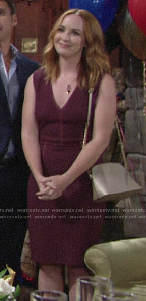 Mariah's burgundy v-neck dress on The Young and the Restless