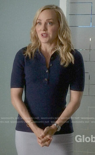 Marissa's navy polo top on Bull