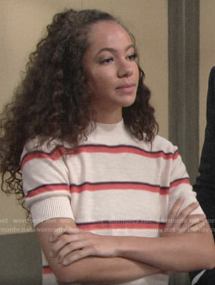 Mattie's cream striped short sleeve sweater on The Young and the Restless
