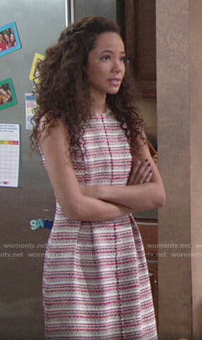 Mattie's striped tweed dress on The Young and the Restless