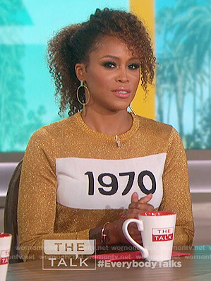 Eve's gold 1970 metallic sweater on The Talk