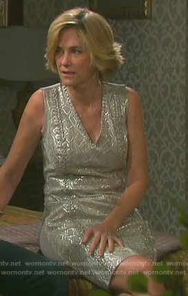 Eve's metallic lace-up dress on Days of our Lives
