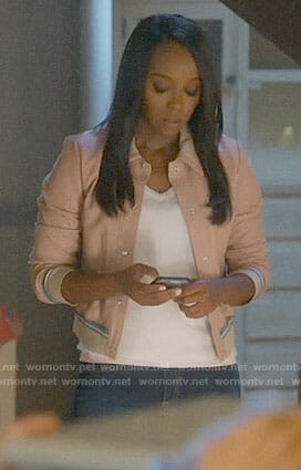Michaela's pink leather jacket on How to Get Away with Murder