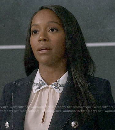 Michaela's bird embellished top on How to Get Away with Murder