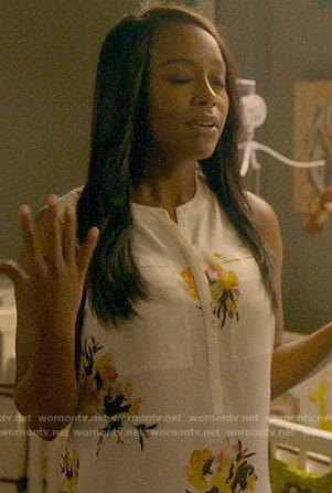 Michaela's white floral top on How to Get Away with Murder
