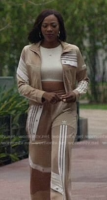Molly's beige Adidas track suit on Insecure