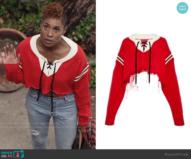 Monse Cropped Hockey Sweater worn by Issa Dee (Issa Rae) on Insecure