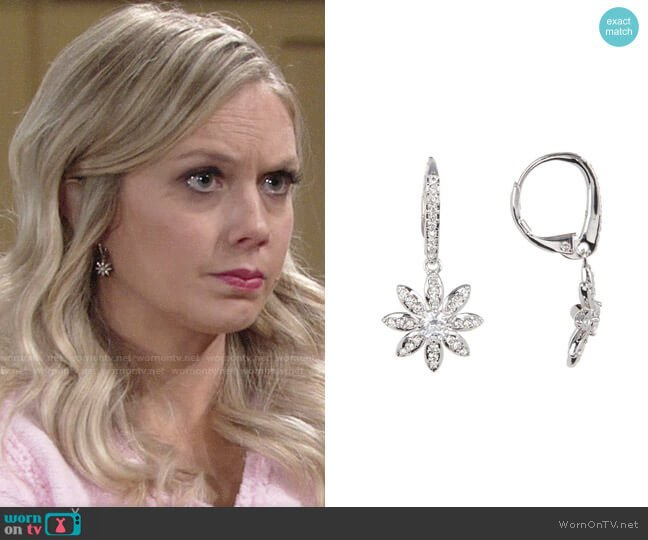 Nadri CZ Flower Drop Earrings worn by Abby Newman (Melissa Ordway) on The Young & the Restless