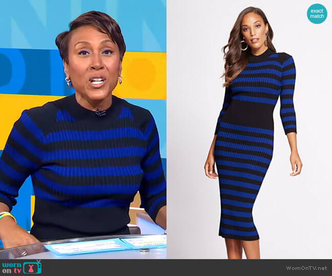 Stripe Sweater Dress - Gabrielle Union Collection by New York & Company worn by Robin Roberts  on Good Morning America