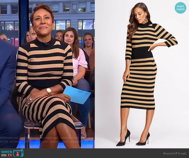 Stripe Sweater Dress - Gabrielle Union Collection by New York & Company worn by Robin Roberts (Robin Roberts) on Good Morning America
