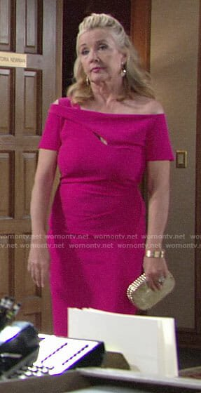 Nikki's pink off-shoulder dress on The Young and the Restless
