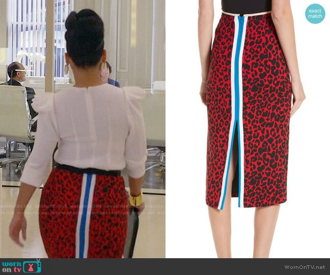 No.21 Leopard Print Pencil Skirt worn by Amirah Vann on HTGAWM