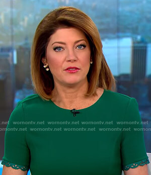 Norah's green short sleeve dress on CBS This Morning