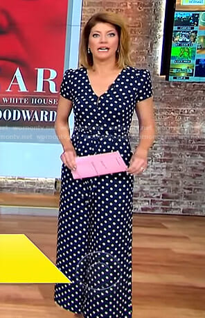 Norah's navy polka dot jumpsuit on CBS This Morning
