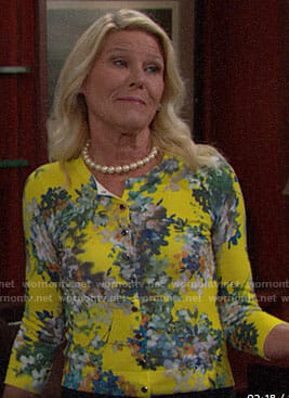 Pam's yellow floral cardigan on The Bold and the Beautiful
