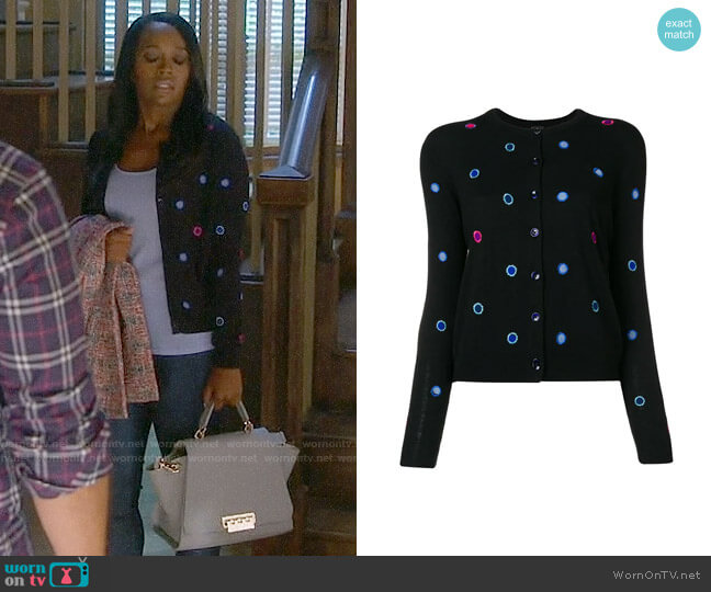 PS by Paul Smith Polka Dot Embroidered Cardigan worn by Michaela Pratt (Aja Naomi King) on HTGAWM