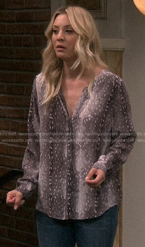 Penny's grey animal print blouse on The Big Bang Theory