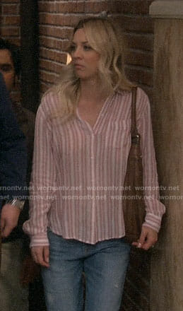 Penny's pink striped shirt on The Big Bang Theory