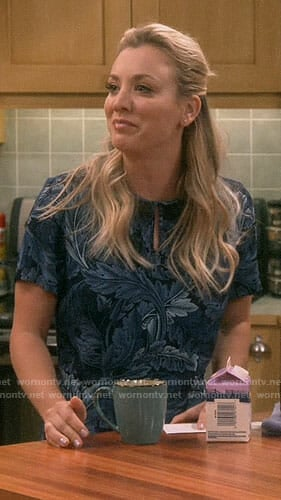 Penny's blue leaf print top on The Big Bang Theory
