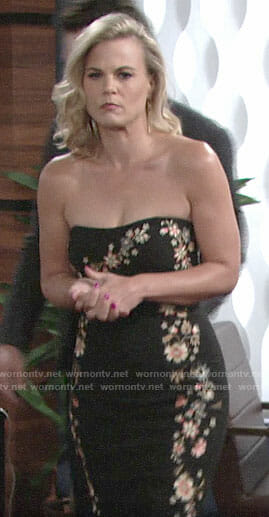 Phyllis's black floral strapless dress on The Young and the Restless