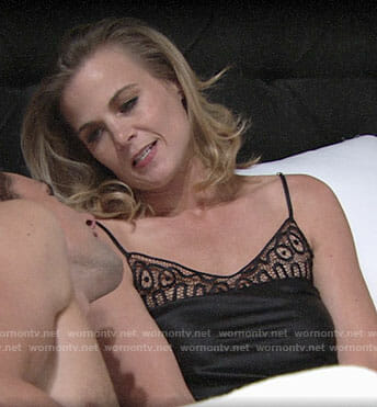 Phyllis's black lace panel chemise on The Young and the Restless