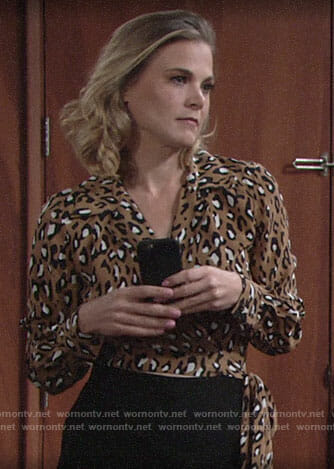 Phyllis's leopard print wrap top on The Young and the Restless