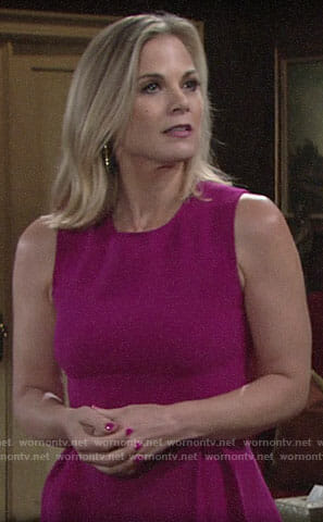 Phyllis's pink peplum top and black earrings on The Young and the Restless