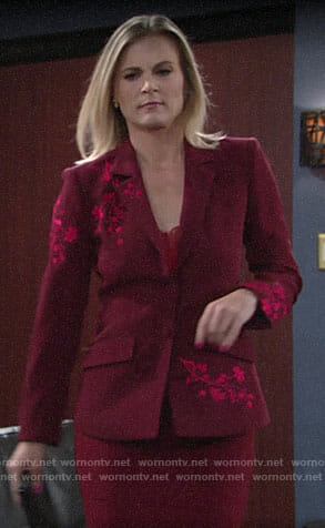 Phyllis's red floral embroidered blazer on The Young and the Restless