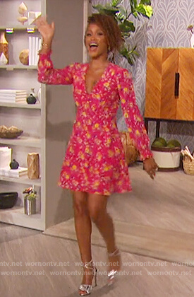 Eve's pink floral mini dress on The Talk