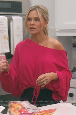 Tamra's pink one off shoulder hoodie on The Real Housewives of Orange County