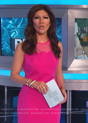 Julie's pink scalloped midi dress on Big Brother