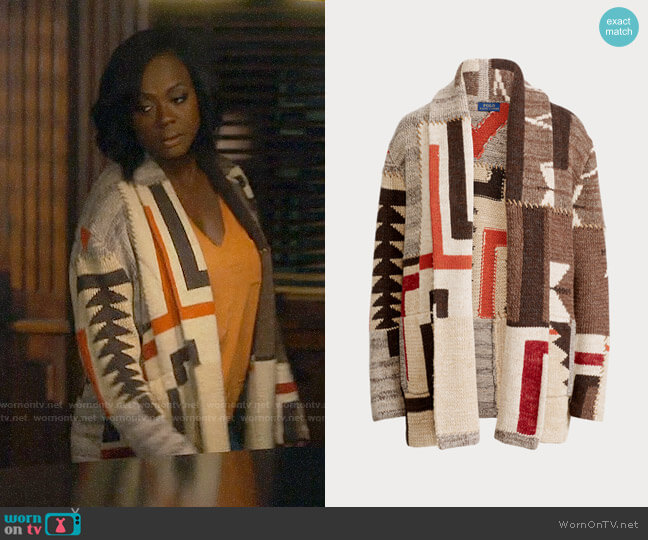 Polo Ralph Lauren Geometric Shawl Cardigan worn by Annalise Keating (Viola Davis) on HTGAWM