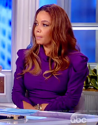 Sunny's purple puff shoulder ruched dress on The View