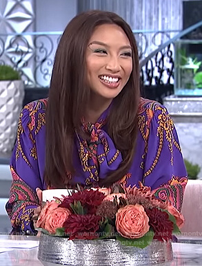 Jeannie's purple print tie neck blouse on The Real