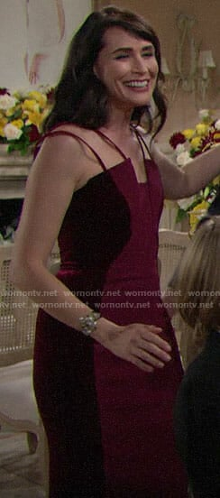 Quinn's red velvet panel dress on The Bold and the Beautiful