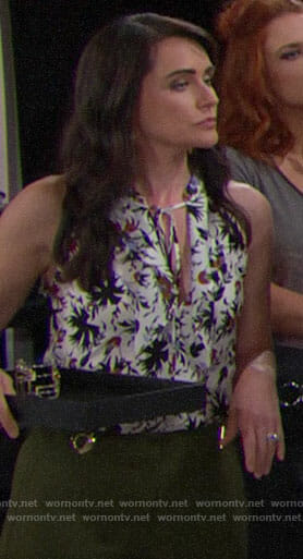 Quinn's white floral top and green pants on The Bold and the Beautiful