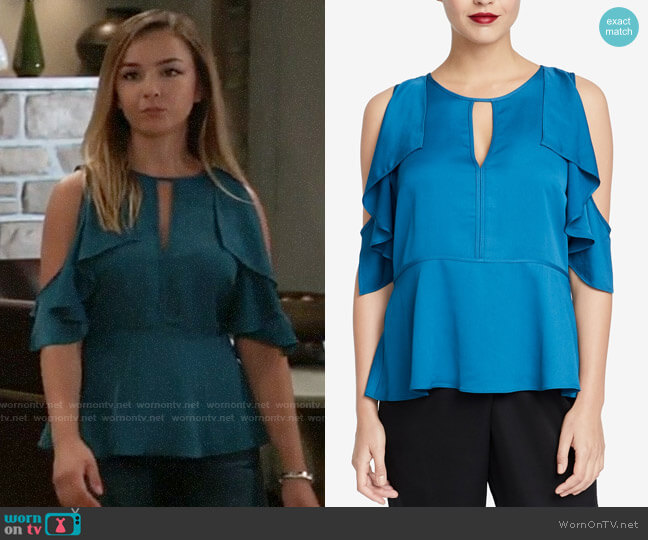 RACHEL Rachel Roy Ruffled Cold-Shoulder Top worn by Lexi Ainsworth on General Hospital