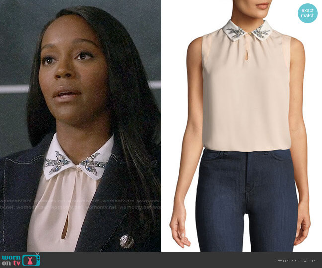 Rebecca Taylor Bird-Embellished Collar Sleeveless Silk Top worn by Michaela Pratt (Aja Naomi King) on HTGAWM