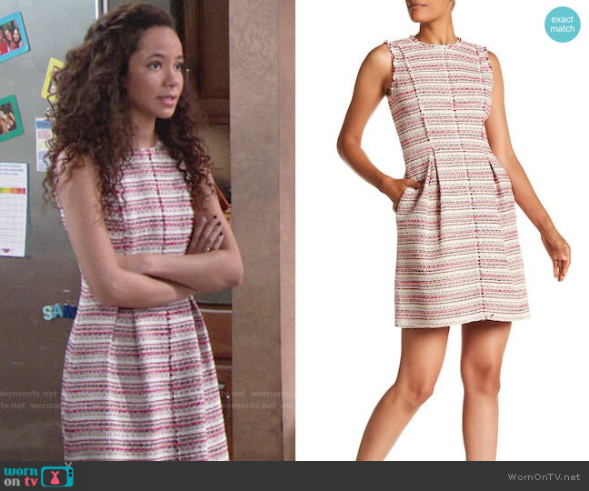 Rebecca Taylor Optic Striped Tweed Dress worn by Christel Khalil on The Young & the Restless