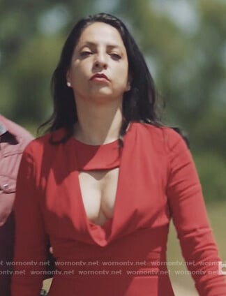 Camila's red cowl neck midi dress on Queen of the South